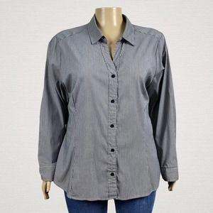 Ashley Stewart Striped Button Front Shirt Top 26W